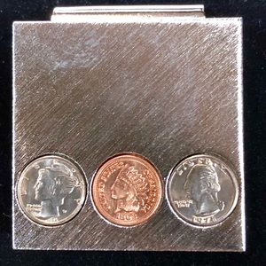 Brushed Silver Money Clip with US Collector Coins